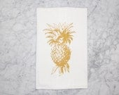 Pineapple Kitchen Tea Towel - Tropical - Flour Sack Towel - Cotton Towel - Gift - Hostess Gift - Housewarming Gift - Home Decor - Gold