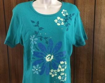 Sarah Bentley Handpainted Floral  Resort T-Shirt Top Green Tropical  **Free USA Shipping**