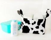 Fabric Storage Basket - Diaper Caddy -New Baby Gift - Gender Neutral - Storage Basket - Cow Print - Farm Nursery Decor- Fabric Easter Basket