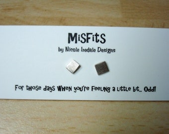 Handmade Misfits Medium Sterling Silver Recycled ODD Mismatched Stud Earrings Square