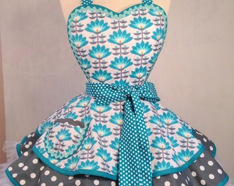 Teal and Gray Modern Floral Pin Up Apron, Woman's Apron, Joel Dewberry, Hostess Apron - Ready To ship