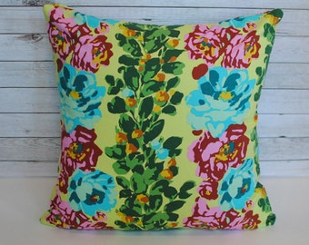 Floral decorative pillow cover. 1 pillow for 20x20 cushion insert. Yellow blue green and pink. Boho home decor colorful pillow funky