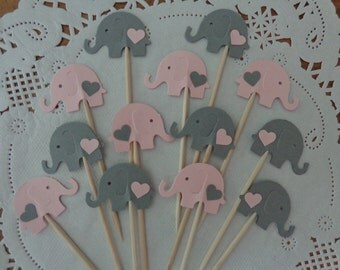 24 Light Pink and Grey Elephant Cupcake Toppers with Hearts - Food Picks - Party Picks - Elephant Shower Decorations - Baby Sprinkle