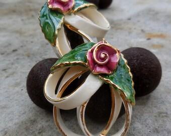 ELEGANT - Porcelain Rose Earrings for Pierced Ears!