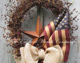Americana Wreath, Patriotic Wreath, Fall Wreath, Veteran's Day Wreath, Primitive Patriotic, Rustic Patriotic Wreath, Tea Stained Flag