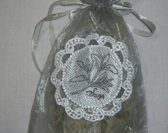 White Sage, Loose Leaf, 1 oz., in Organza Bag with embroidered label -  Altar Space, Space Clearing, Purification Smudge, White Sage Leaves