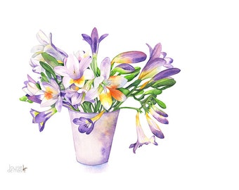 Freesias watercolor painting print, A3 size largest print, F11916, Freesia print, freesia watercolor painting, botanical watercolor painting