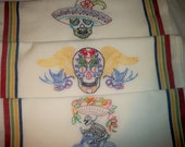 Day of the Dead , three hand embroidered dish towels, colorful stripes