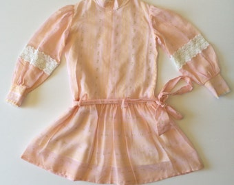 1960's Sheer Pink Drop Waist Dress (8)