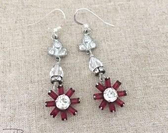 Vintage Repurposed Rhinestone Earrings - Red Rhinestone Dangle Earrings - Vintage Assemblage Rhinestone Earrings - OOAK Jewelry
