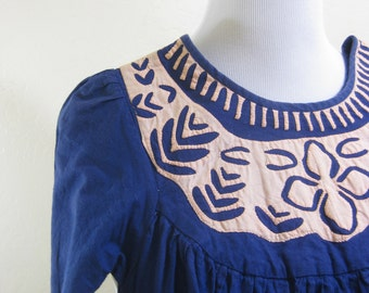 Vintage Dress, House Dress, Appliqued Dress, Long Vintage Dress, Ethnic Dress, Dress with Pockets, Small Vintage, Navy Dress, Blue Dress