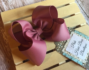 Mauve hair bow , rosy pink mauve hairbow , mauve hairclip , Mauve hair clip , mauve bow , solid hair bow ,  hair bows for girls