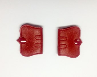 Cord Keeper, Iphone cord, Ear bud cord, Cord organizer, Red snaps, Red Vinyl cord keeper, Snap cord keeper, Cable organizers