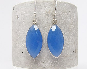 Blue Chalcedony Earrings  - Silver Earrings - Drop Earrings - Dangle Earrings