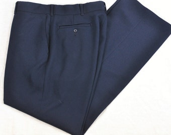 Vintage Mens Large Pants 35 36 Haggar Dress Trousers Comfort Waistband Dark Navy Blue