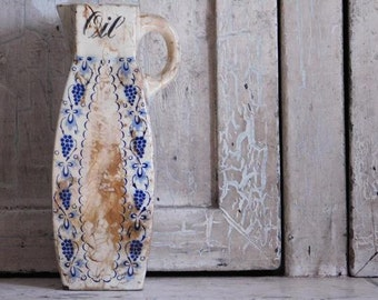 Vintage Oil Cruet, Blue and White Ceramic Pitcher Karin Germany,Primitive Flower Vase, Primitive Farmhouse Style