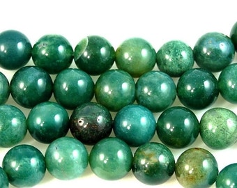 CLEARANCE Moss Agate Round 8mm -15.5 inch strand