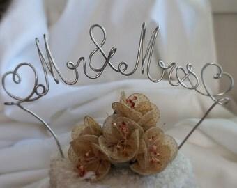 Large Wedding Cake Topper, Mr & Mrs Banner Style