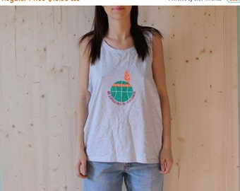 SALE Vintage 90's Grey Tank Top with Neon Ball print