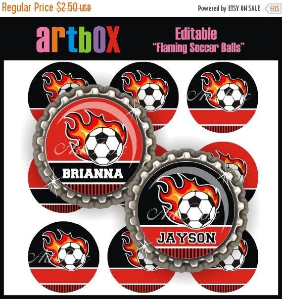 ON SALE Editable Flaming Soccer Balls Bottle Cap Images - 4x6 Digital Jpeg File Collage Sheet - BottleCap One Inch Circles for Pendants, Hai