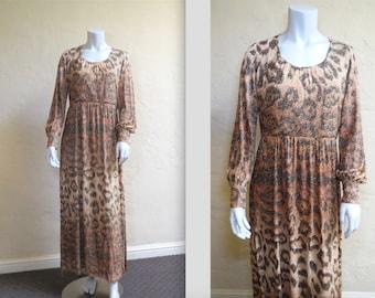 Purrrrrr Vintage Glam Early 70s Adele Simpson Metallic Leopard Print Maxi Dress L