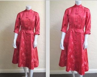 Wonderful Vintage 50s Dynasty Silk Brocade Dress w Frog Closures