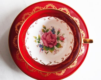 Aynsley Teacup and Saucer / Red and White with Pink Rose / Vintage Tea Cup