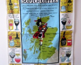 Vintage Scotland and Scotch Coffee Linen Tea Towel