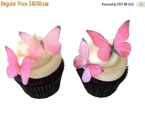 CHRISTMAS in JULY SALE Edible Paper Butterflies in 24 Prettiest Pink - Cupcake Decorating, Cupcake Toppers, Cake Decorations, Party Supplies