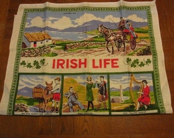 Vintage Linen Kitchen Towel Irish Life Nelson Celtic Border
