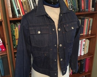 TOWNCRAFT DENIM--Dark Blue 1960s JC Pennys Denim or Jean Jacket with Selvedge and Sewn Down Pleats-S, M