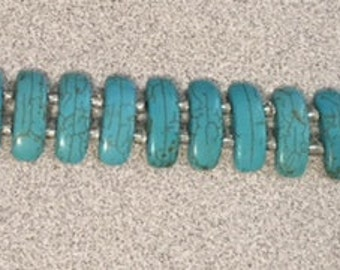 Turquoise Color Howlite Bracelet and Earrings