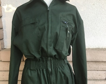 80s Coveralls Jumpsuit Dark Pine Green Uniform Military DEADSTOCK Size M-L Tall