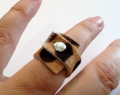 Soft Leather Ring - Leopard - Wrapped Around Ring - Cool Leather Jewelry for women and for men