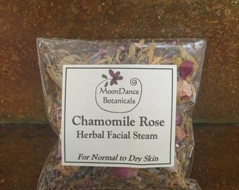 Chamomile Rose Facial Steam by MoonDance Botanicals; All Natural and Organic Chamomile and Rose Facial Steam,  Herbal Facial Steam