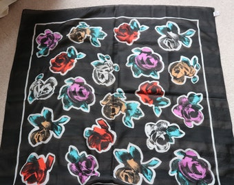 Italian black floral abstract scarf square