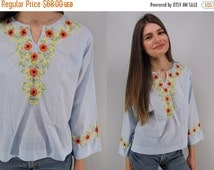 20% Sale - Vintage 70s Embroidered Boho Top, Hippie Top, Mexican Embroidered Top, Floral Embroidered Blouse Δ fits sizes: xs / sm / md