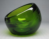 VIKING glass ashtray . green color , tilt design , mid-century modern