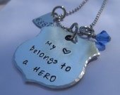 SALE Hand Stamped- Police Badge - Hero - Mothers Necklace - Wife Necklace - Police Department Necklace