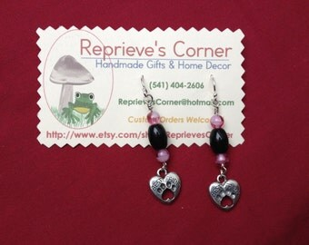 Best Friend with Paw Prints-- Handmade Earrings Featuring Silver Plated Charms
