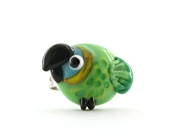 Glass lampwork Blue fronted Amazon parrot / bird adjustable silver ring