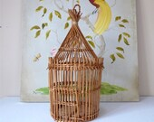 BIG RATTAN CAGE - French Vintage Little Bird Cage Rattan - Romantic Lamp - French Lighting, french vintage cage