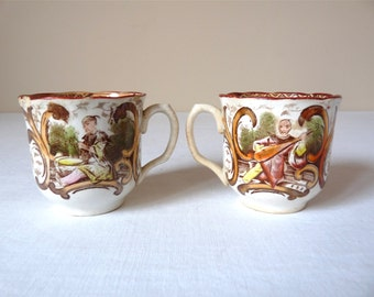 French antique coffee cups, Chinoiserie, french style Napoleon III
