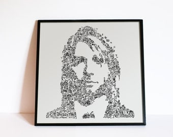 Kurt Cobain - Nirvana - the Grunge Icon of the club 27 - Biographical drawing - Print on 190 gsm Paper -