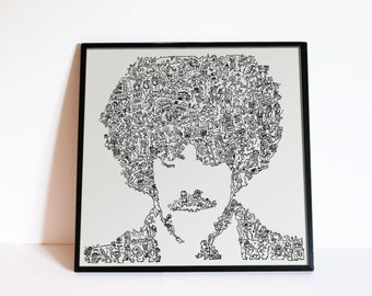 Phil Lynott poster - Thin Lizzy print - Drawing of the Dubliner with his bio in his Portrait. Print in Limited Edition -