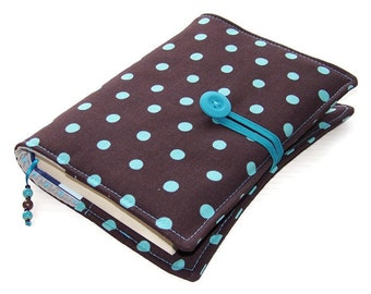 Fabric Book Cover Bag, Handmade Bible Sleeve, TURQUOISE POLKA Dots on Brown