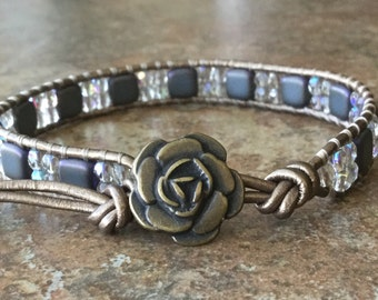 Single Wrap Leather Wrap Bracelet Blue Beaded Bracelet Bohemian Kansa Leather Metallic Bronze Single Stacking