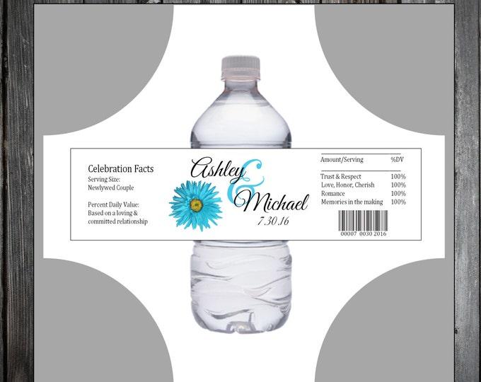 Malibu Blue Daisy 100 water bottle labels - Wedding favors