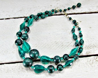 Chunky Bead Bib Necklace, Emerald Green Beaded Necklace, Multi Double Strand, Statement Necklace, 1960s Mad Men Vintage Costume Jewelry
