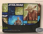 Device Holder made from Star Wars fabric , Tablet, ipad case, with Yoda, Chewbacca, C3PO on Dakota flap